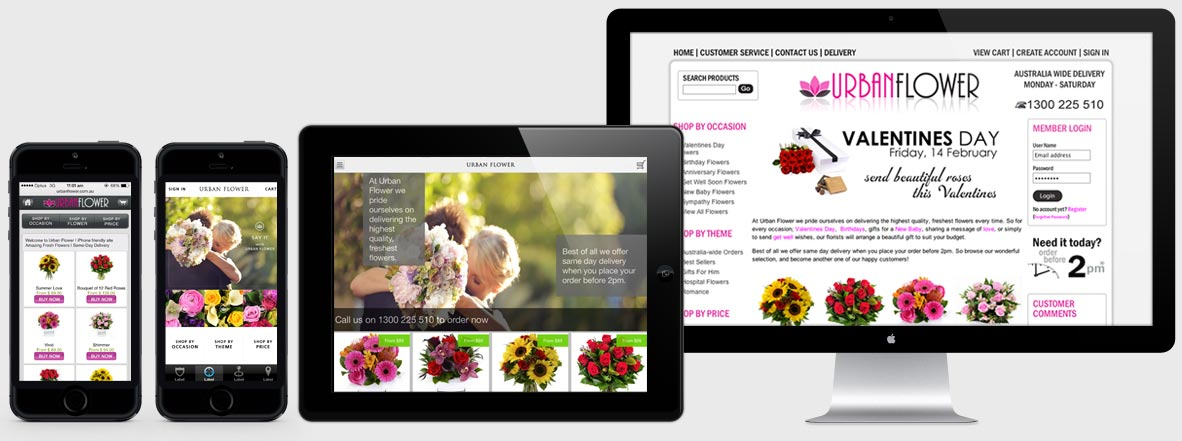 Urban Flowers website with multiple screens
